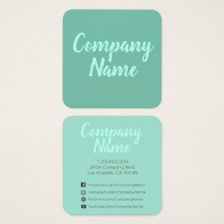 Cartão De Visitas Quadrado Verde mínimo simples da hortelã