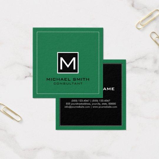 Cartão De Visitas Quadrado Verde preto moderno elegante do primavera do