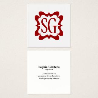 Cartão De Visitas Quadrado Vermelho Curvy do rubi da caixa 02 - iniciais -