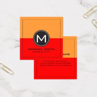 Cartão De Visitas Quadrado Vermelho moderno elegante e açafrão do monograma
