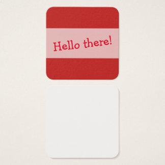 Cartão De Visitas Quadrado Vermelho pequeno notas impressas para deixar