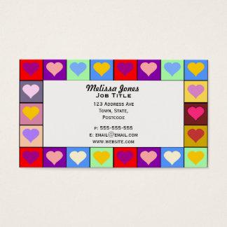 Cartão De Visitas Quadrados coloridos do coração