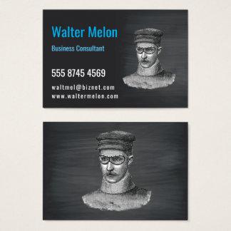 Cartão De Visitas Quadro do preto do homem dos óculos de proteção de