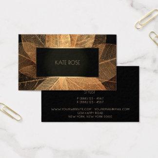 Cartão De Visitas Quadro dourado botânico Vip do campo do preto da