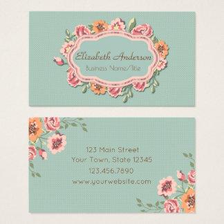 Cartão De Visitas Quadro floral do vintage elegante