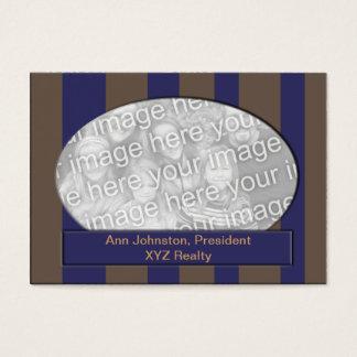 Cartão De Visitas Quadro listrado da foto do azul e do Brown