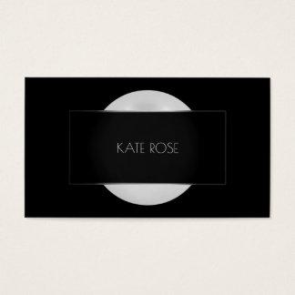 Cartão De Visitas Quadro redondo de prata preto cinzento Vip da