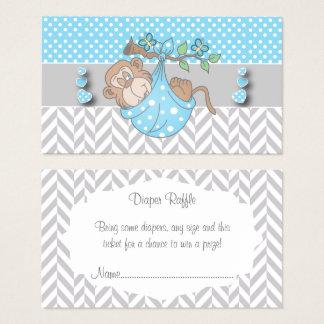 Cartão De Visitas Raffle azul, branco e cinzento da fralda do macaco