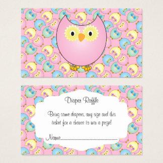 Cartão De Visitas Raffle bonito da fralda do bebê da coruja do rosa