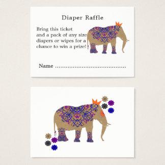 Cartão De Visitas Raffle bonito da fralda do elefante da cor rústica