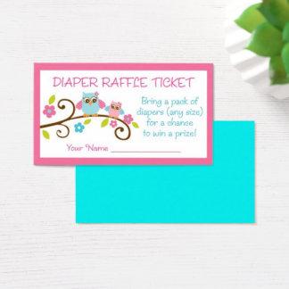 Cartão De Visitas Raffle cor-de-rosa bonito da fralda da coruja