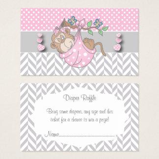 Cartão De Visitas Raffle cor-de-rosa, branco e cinzento da fralda do