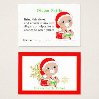 Cartão De Visitas Raffle da fralda do chá de fraldas do papai noel