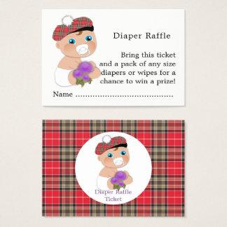 Cartão De Visitas Raffle escocês da fralda do chá de fraldas do