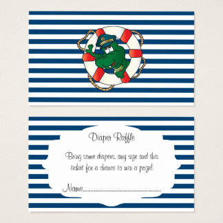 Cartão De Visitas Raffle náutico bonito da fralda do chá de fraldas