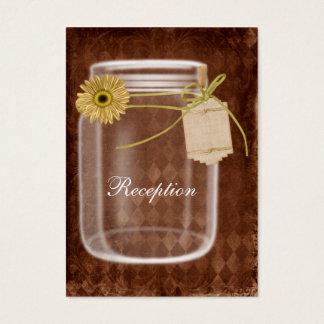 Cartão De Visitas recepção de casamento rústica do frasco de