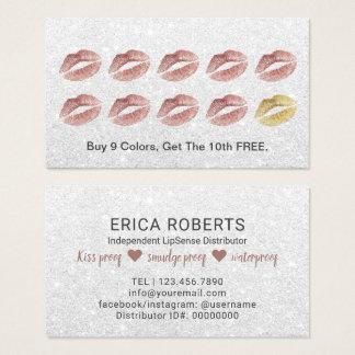 Cartão De Visitas Recompensa cor-de-rosa da lealdade dos lábios do