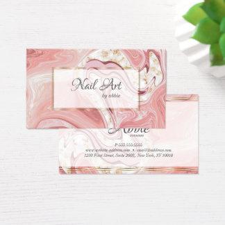 Cartão De Visitas Redemoinhos cor-de-rosa corais da ágata do artista