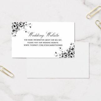 Cartão De Visitas Redemoinhos elegantes pretos & Web site branco do