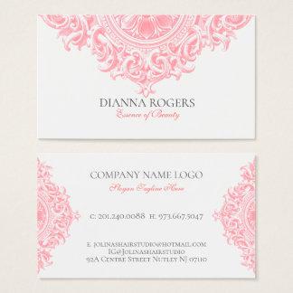 Cartão De Visitas Redemoinhos ornamentado cor-de-rosa femininos da
