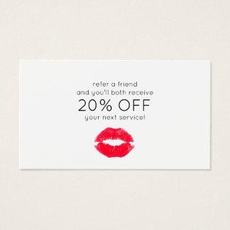 Cartão De Visitas Referência de beijo bonito do cliente dos lábios