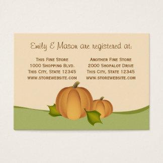 Cartão De Visitas Registro do chá da colheita da abóbora