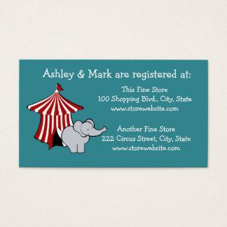 Cartão De Visitas Registro do chá de fraldas do circo