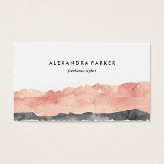 Cartão De Visitas Respingo moderno | da aguarela cor-de-rosa e preto