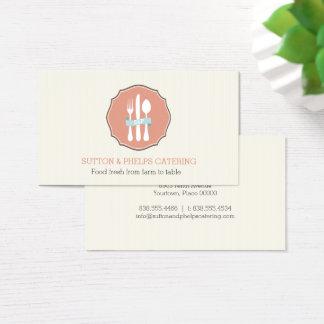 Cartão De Visitas Restauração bege da placa das riscas da cutelaria