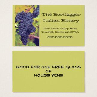 Cartão De Visitas Restaurante italiano ou Vinyard das uvas