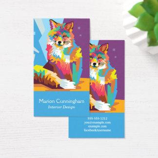Cartão De Visitas Retrato colorido do Fox do pop art