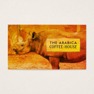 Cartão De Visitas Rinoceronte, rinoceronte africano, Café-house