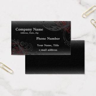 Cartão De Visitas Riscas cinzentas pretas e redemoinhos