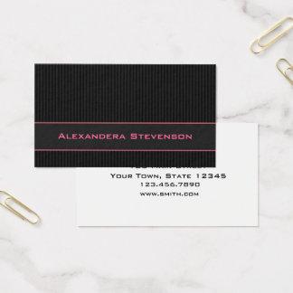 Cartão De Visitas Riscas pretas, profissional cor-de-rosa