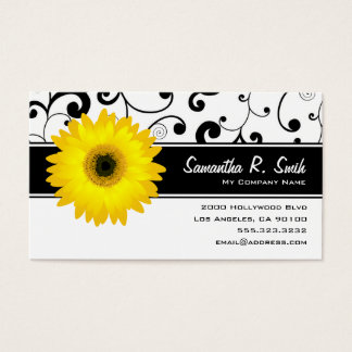 Cartão De Visitas Rolo preto & branco da margarida amarela do