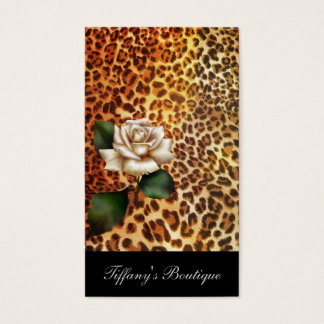 Cartão De Visitas Rosa branco do leopardo do impressão do animal