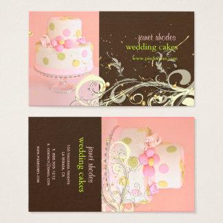 Cartão De Visitas ROSA de PixDezines+CHOCOLATE/WEDDING CAKE/SWIRLS
