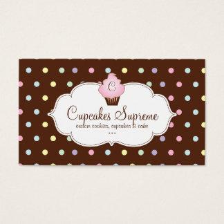 Cartão De Visitas Rosa do chocolate das bolinhas da padaria do