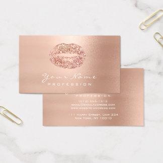 Cartão De Visitas Rosa do rosa do brilho da beleza dos lábios do