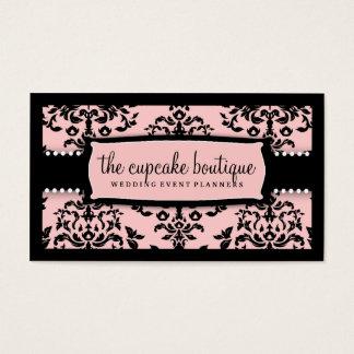 Cartão De Visitas Rosa doce da crosta de gelo da cereja sobre o bolo