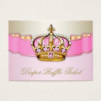 Cartão De Visitas Rosa e princesa Menina Fralda Raffle Bilhete do