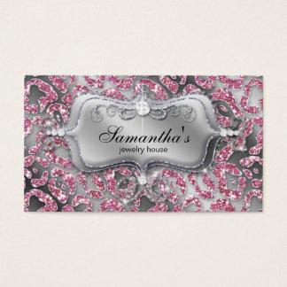 Cartão De Visitas Rosa elegante da zebra da jóia de 232 faíscas