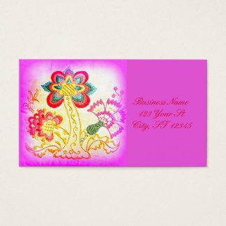 Cartão De Visitas rosa groovy da palmeira do hippie-estilo