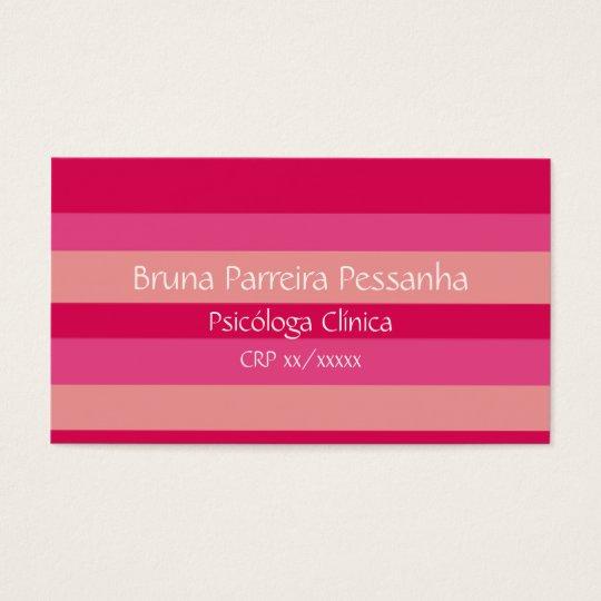 Cartão de visitas rosa listrasdo