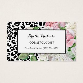 Cartão De Visitas Rosa na moda do impressão do leopardo do
