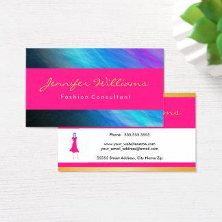 Cartão De Visitas Rosa, ouro, elegante abstrato