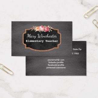 Cartão De Visitas Rosas da educação do tutor do professor   do