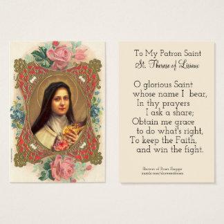 Cartão De Visitas Rosas de Therese do santo padroeiro de