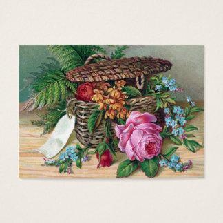 Cartão De Visitas Rosas e samambaias no Victorian do vintage da
