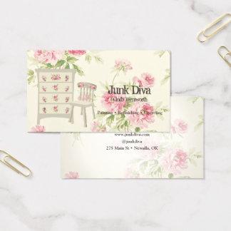 Cartão De Visitas Rosas pintados do rosa da cadeira do armário da